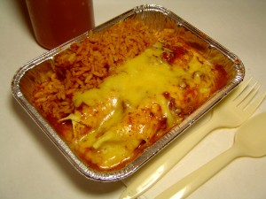 Toltec with enchiladas and rice